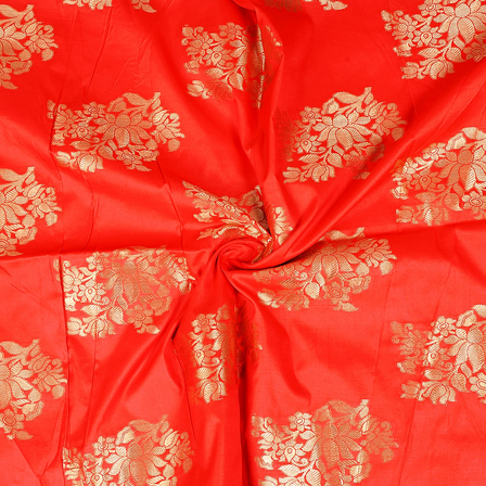 Red and Golden Floral Pattern Two Tone Banarasi Silk Fabric-8420
