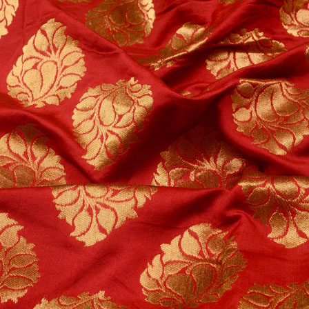 Red and Golden Floral Shape Brocade Silk Fabric-5324