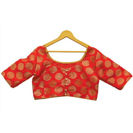 Red and Golden Floral Silk Brocade Blouse-30122