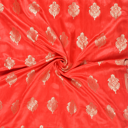 Red and Golden Floral Silk Satin Brocade Fabric-8684