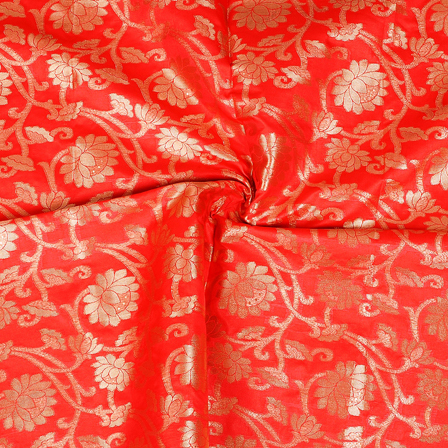 Red and Golden Floral Two Tone Banarasi Silk Fabric-8421