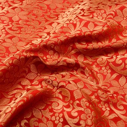 Red and Golden Flower Design Brocade Silk Fabric-5359