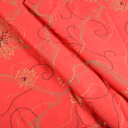 Red and Golden Flower Jam Cotton Silk Fabric-75153