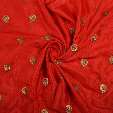 Red and Golden Flower Malbari Embroidery Silk-60713