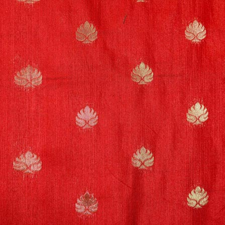 Red and Golden Flower Pattern Brocade Indian Fabric-4279