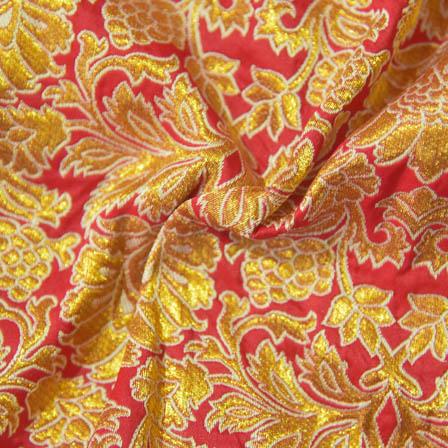 Red and Golden Flower Pattern Brocade Silk Fabric-8022