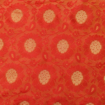Red and Golden Flower Pattern Chanderi Indian Fabric-4378