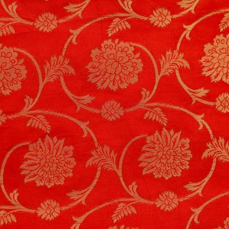 Red and Golden Flower and Leaf Pattern Brocade Silk Fabric by the yard