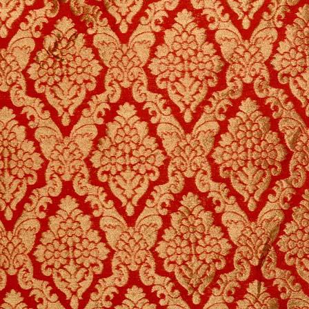 Buy Red And Golden Heavy Zari Work Brocade Silk Fabric By