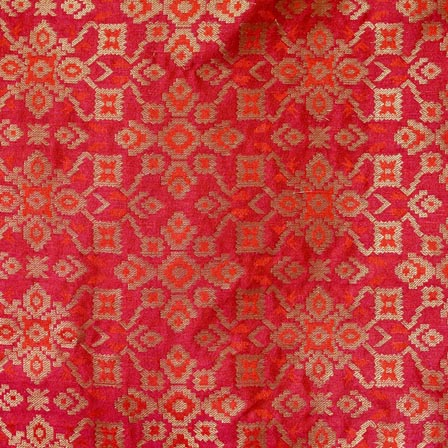 Red and Golden Indian Brocade Fabric-4298