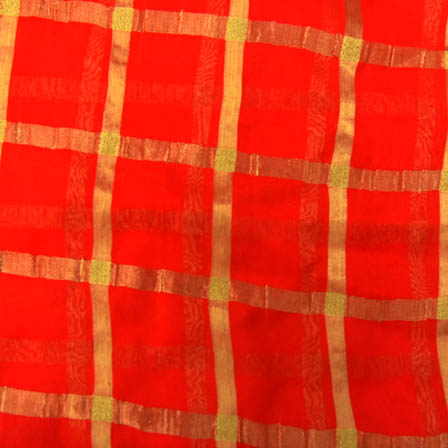Red and Golden Large Zari Checks Pattern Georgette Fabric-29002