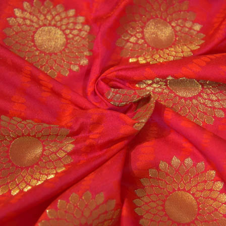 Red and Golden Large Flower Pattern Brocade Silk Fabric-8051