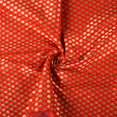 Red and Golden Leaf Design Brocade Banarasi Silk Fabric-8474