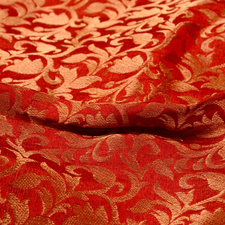 Red and Golden Leaf Design Chanderi Silk Fabric-5456