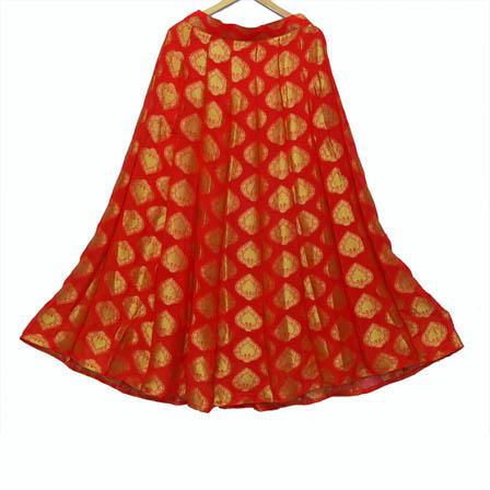 Red and Golden Leaf Design Georgette Jacquard Skirt-23036