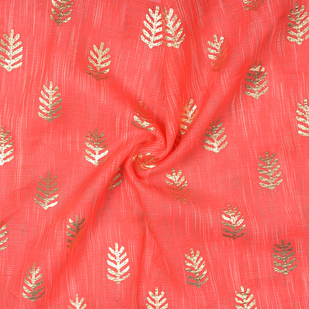 Red and Golden Leaf Design Kota Doria Fabric-25100