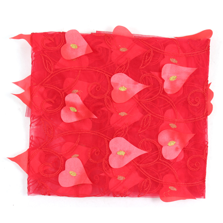 Red and Golden Leaf Net Embroidery Fabric-60879