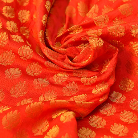 Red and Golden  Leaf Pattern Brocade Silk Fabric-8225