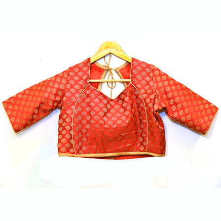 Red and Golden Leaf Silk Brocade Blouse-30094