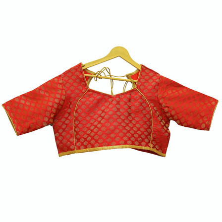 Red and Golden Leaf Silk Brocade Blouse-30101