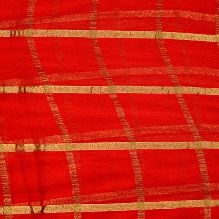 Red and Golden Lining Pattern Chiffon Indian Fabric-4366