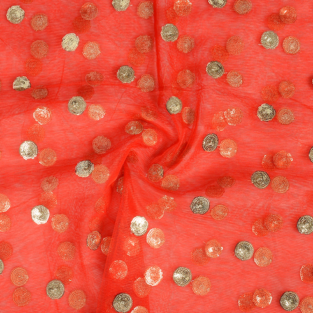 Red and Golden Polka Design Embroidery Net Fabric-60321