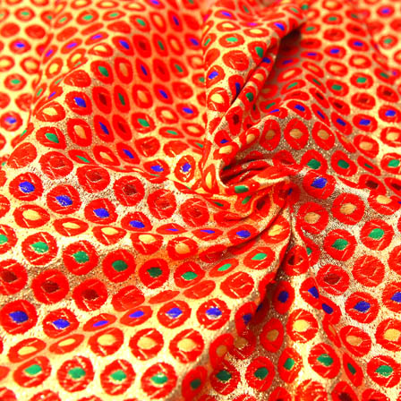 Red and Golden Polka Pattern Brocade Silk Fabric -8180