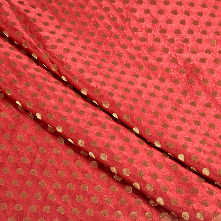 Red and Golden Satin Brocade Fabric-8498