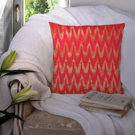 Red and Golden Silk Cushion Cover-35017