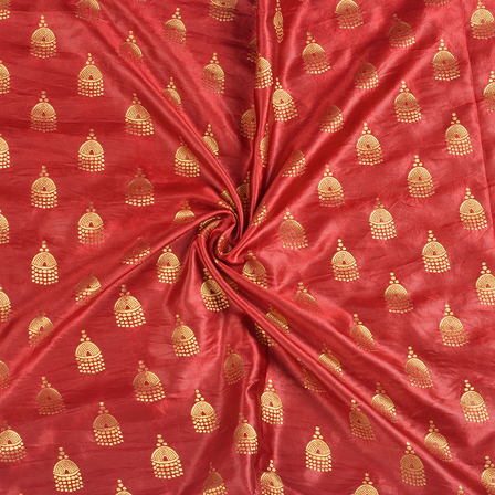Red and Golden Silk Satin Brocade Fabric-8686