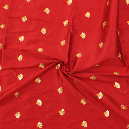 Red and Golden Small Floral Design Silk Embroidery Fabric-60123