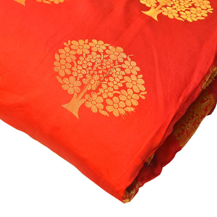 Red and Golden Tree Pattern Brocade Silk Fabric-8210