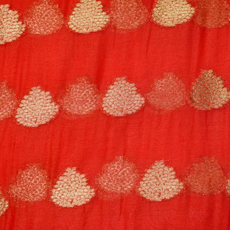 Red and Golden Tree Pattern Chiffon Fabric-4352