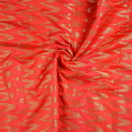 Red and Golden Zig Zag Brocade Silk Fabric-8640