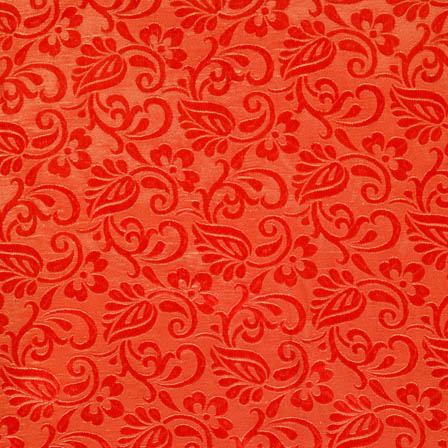 Red and Golden flower silk brocade fabric-4595