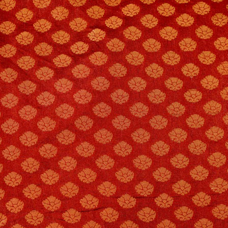 Red and Golden small flower shape brocade silk fabric-4694