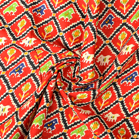 Red and Green Cotton Kalamkari Fabric-10079