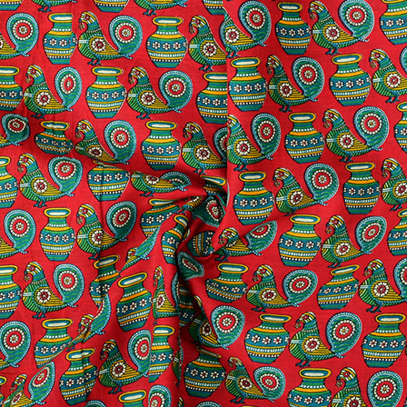 Red and Green Cotton Kalamkari Fabric-10083