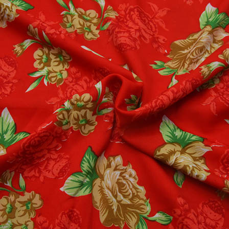 Red and Green Floral Pattern Crepe Fabric-18063