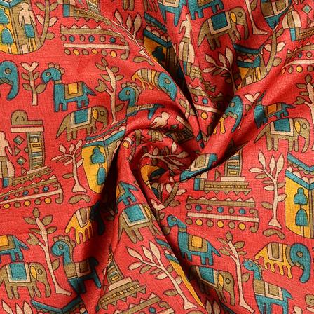 Red and Green Kalamkari Manipuri Silk Fabric-16293