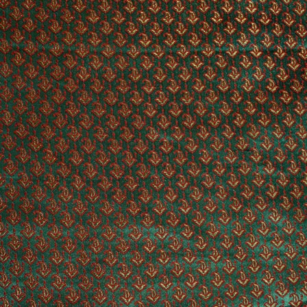 Red and Green Paisley Pattern Chanderi Indian Fabric-4393