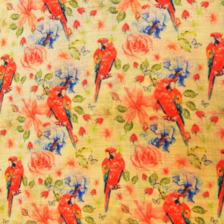 Red and Green Parrot Digital Print On Beige Silk Fabric-24017