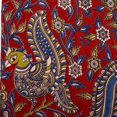 Buy Red And Olive Green Navy Blue Peacock Pattern