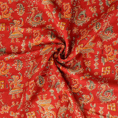 Red and Orange Paisley Pattern Manipuri Kalamkari Silk-16165