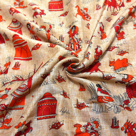 Red and Orange Warli Pattern On Cream Kalamkari Manipuri Silk-16135