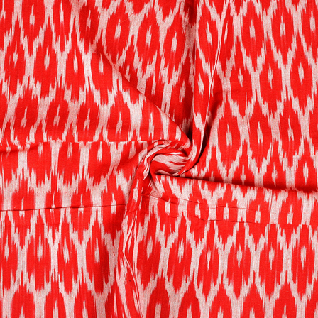 Red and White Cotton Ikat Fabric-12077