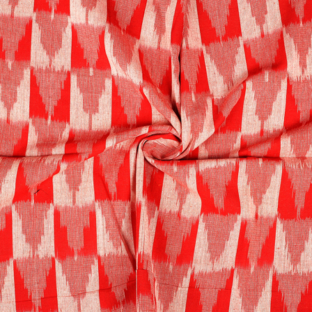 Red and White 3D Cotton Ikat Fabric-12078