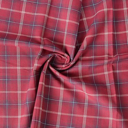Red and White Checks Pattern Cotton Handloom Khadi Fabric-40177