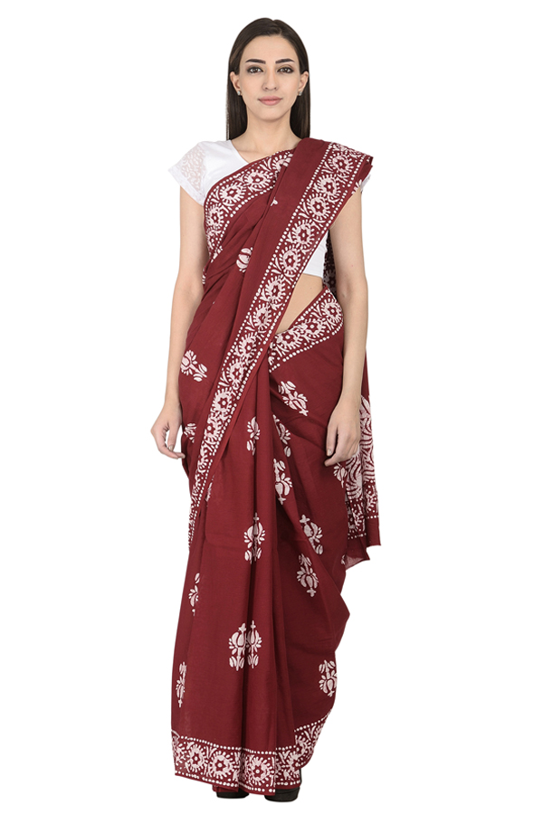 Red and White Cotton Block Print Cotton Saree-20098