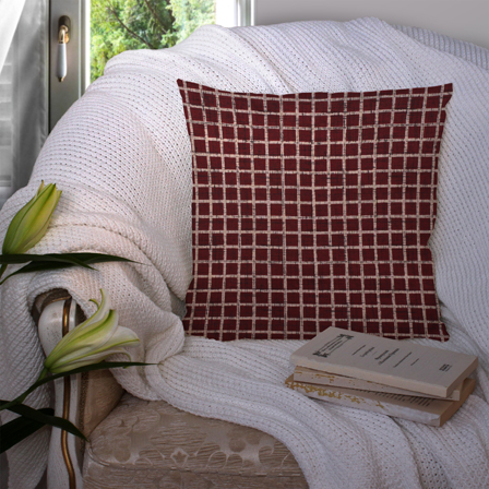 Red and White Cotton Cushion Cover-35021